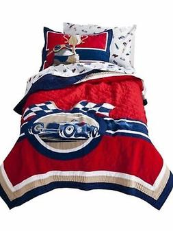 Vintage Car Collection Stitched Full Queen Quilt & Shams Set
