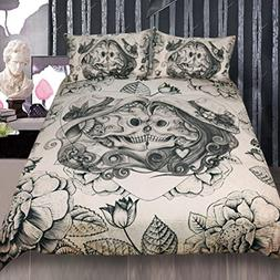 Sleepwish Vintage Skulls Bed Set Funny Skeleton Rose Heart B