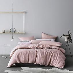Eikei Washed Cotton Chambray Duvet Cover Solid Color Casual