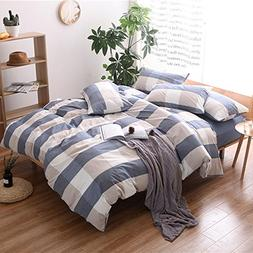 HIGHBUY Washed Cotton Plaid Pattern Duvet Cover Set Queen fo