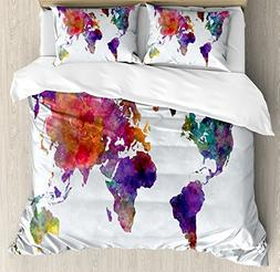 Ambesonne Watercolor Duvet Cover Set Queen Size, Multicolore