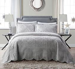 VCNY Home Westland Plush Quilted 3-Piece Bedspread Set , Qu