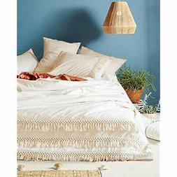 White Cotton Tassel Duvet Cover,Full Queen,86inx90in Home ""