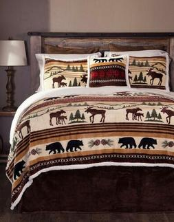 Wildlife Moose Bedding Set Queen 5 Piece Bears Nature Shams