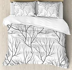 Ambesonne Winter Duvet Cover Set, Winter Tree Without Leaves