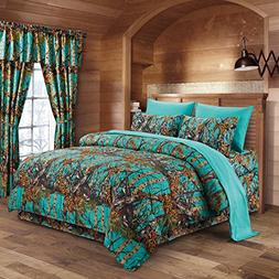 The Woods Teal Camouflage Queen 8pc Premium Luxury Comforter