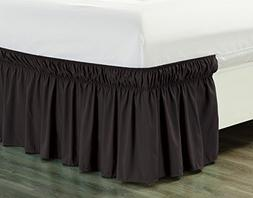 """Wrap Around 18"""" inch fall BROWN Ruffled Elastic Solid Bed Sk"""