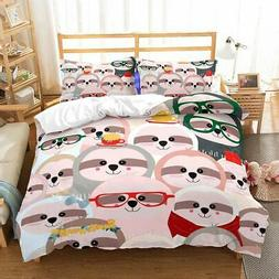 ZHH Sloth Duvet Cover Sets Kids' Bedding Set Ultra Soft Hypo